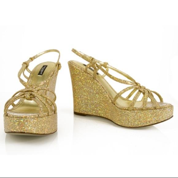 Gold Glitter Dolce Gabbana Wedge Heels